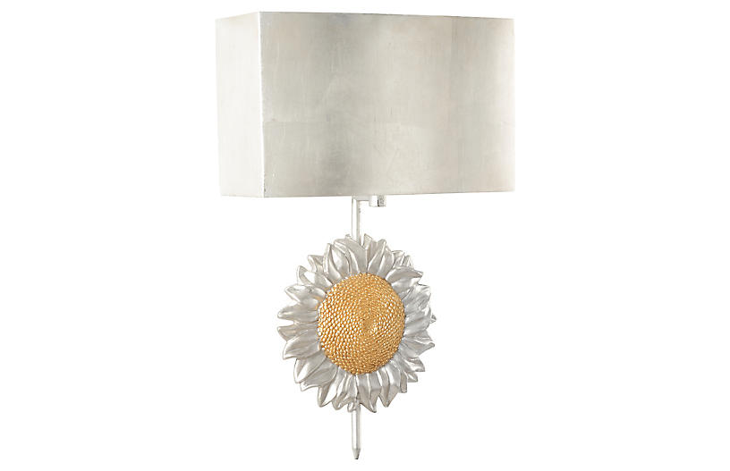 Sunflower Sconce - Distressed Silver/Gold
