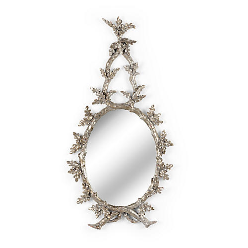"Oakmont 23""x44"" Wall Mirror, Antiqued Silver"
