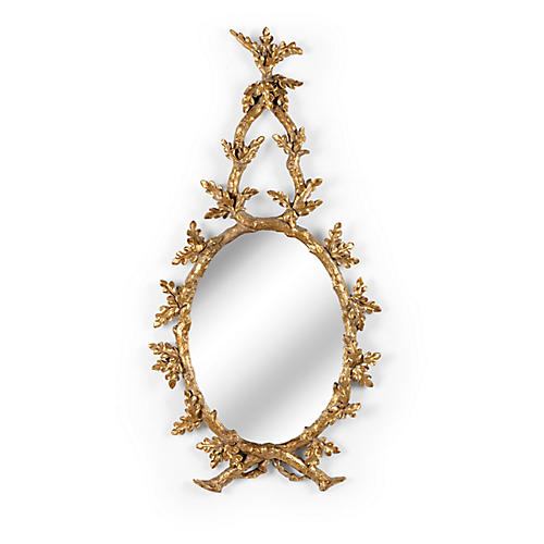 Oakmont Wall Mirror, Antiqued Gold