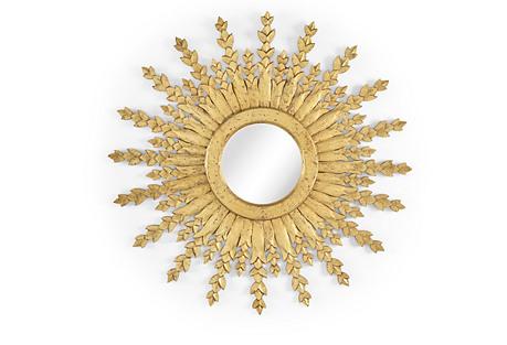 Arrow Burst Wall Mirror, Distressed Gold