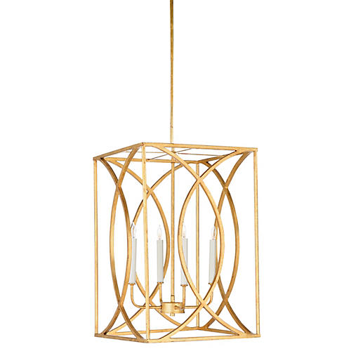 Gayle 4-Light Pendant, Antiqued Gold
