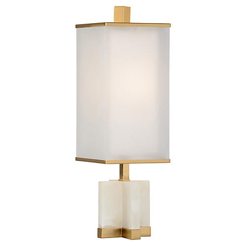 Norah Alabaster Table Lamp, White/Brass