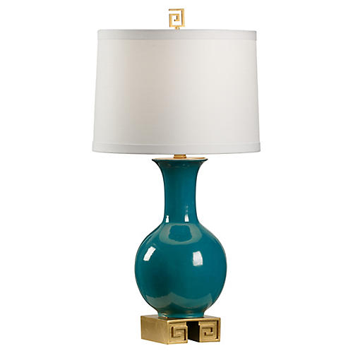 Momoa Table Lamp, Teal/Gold