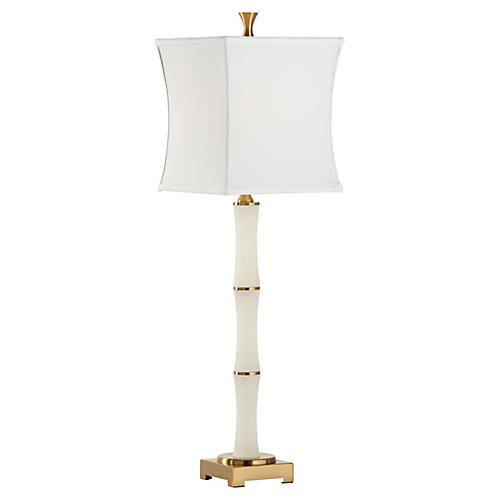Genzer Alabaster Table Lamp, White/Brass