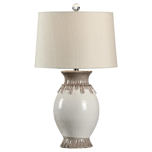 Lavar Table Lamp, White/Gray