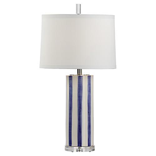 Gullah Table Lamp, Azure/White