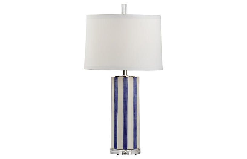 Gullah Table Lamp, Azure/White