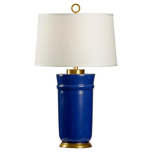 Kalmin Table Lamp, Cadet Blue/Brass