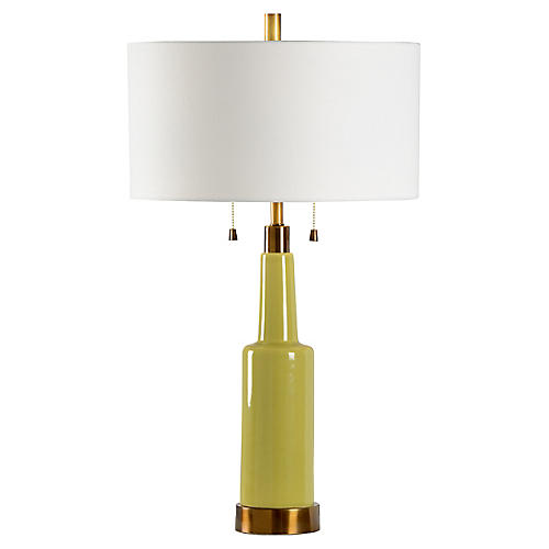Colton Table Lamp, Kiwi/Brass