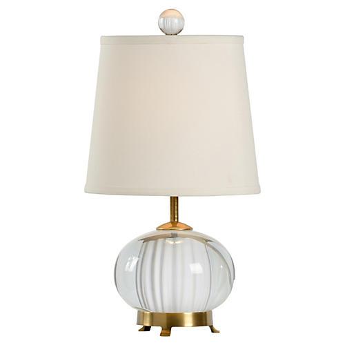 Hamel Crystal Table Lamp, Clear/Brass