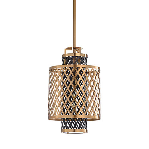 Casi Pendant, Antiqued Brass/Black