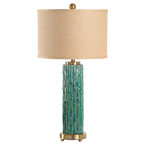 Mellon Table Lamp, Teal/Brass