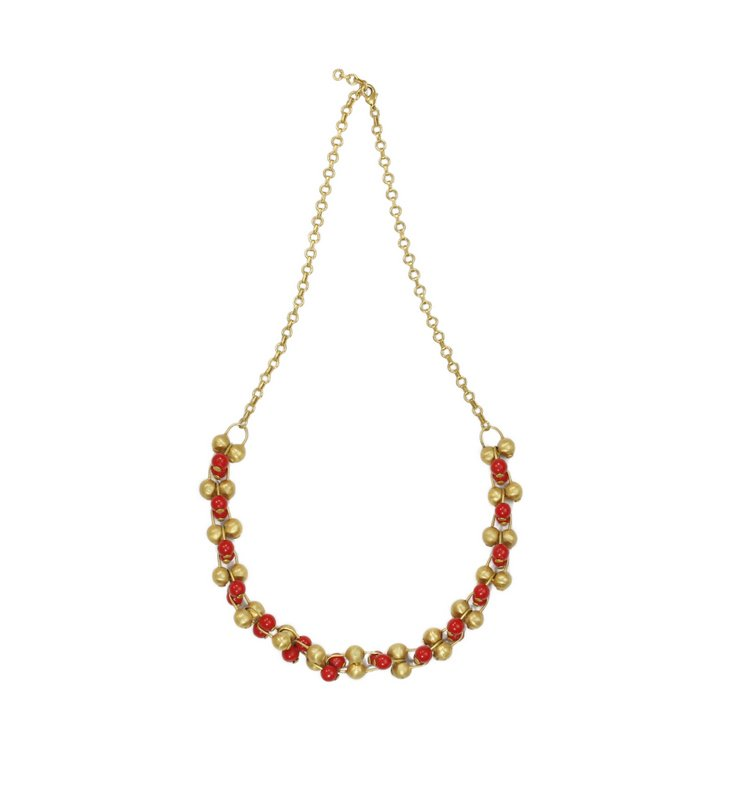 22K Gold Plate w/ Coral Beads Necklace