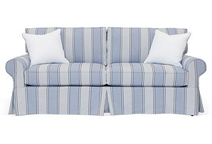 "Banyan Slipcovered 82"" Sofa, Blue Stripe"