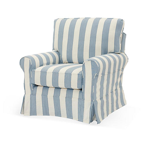 Emily Slipcovered Chair, Sky Blue/White
