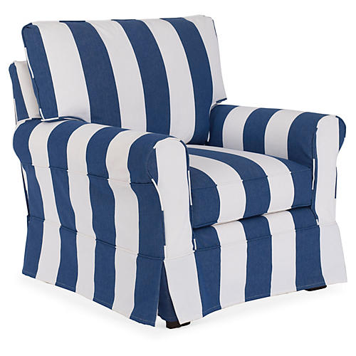 Emily Slipcovered Chair, White/Blue