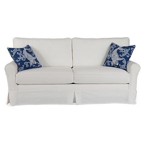 "Emily 80"" Sleeper Sofa, White/Blue"