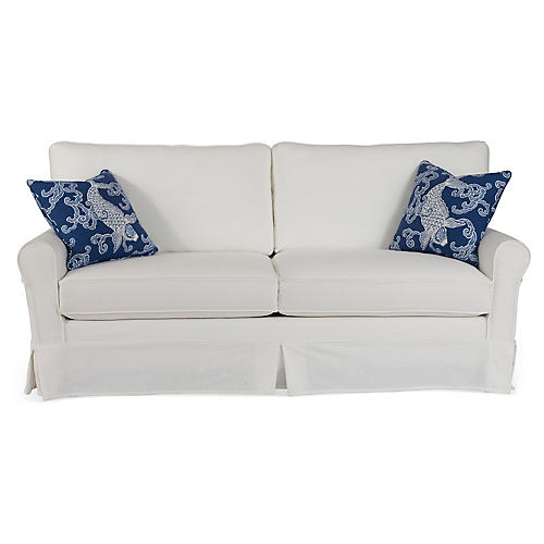 "Emily 80"" Sleeper Sofa, White/Blue"