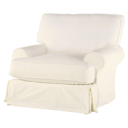 Lauren Club Chair, Antiqued White