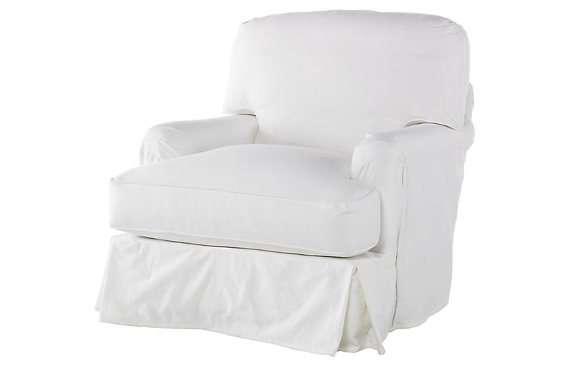 Caroline Swivel Chair, White