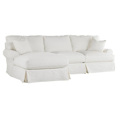 Lauren Left-Facing Sectional, White