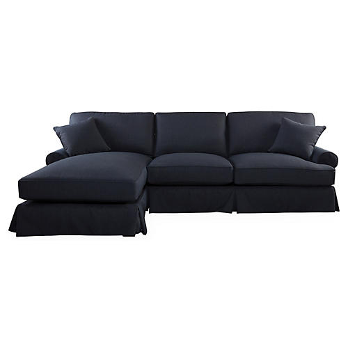 Lauren Left-Facing Sectional, Navy