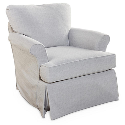 Sara Swivel Club Chair, Gray