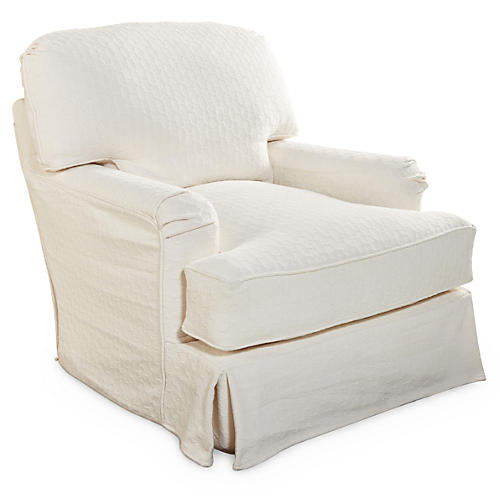 Caroline Swivel Chair, Cloud White