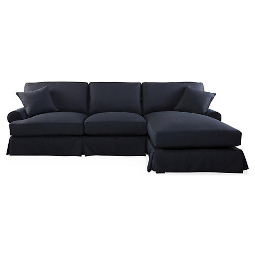 Lauren Right-Facing Sectional, Navy