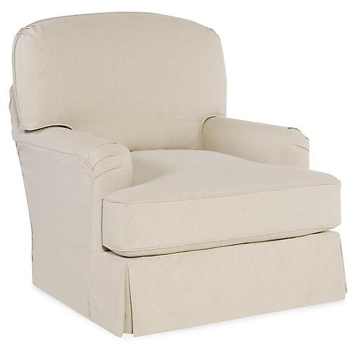 Caroline Swivel Chair, Ecru Cotton