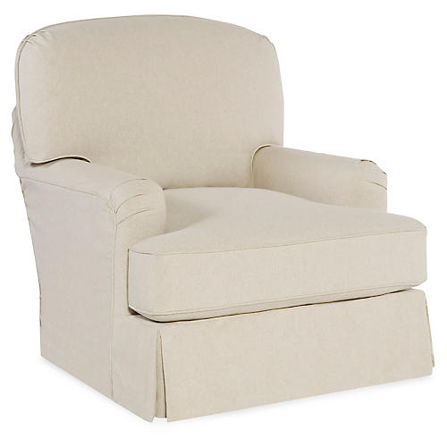 Caroline Swivel Chair, Ecru Cotton