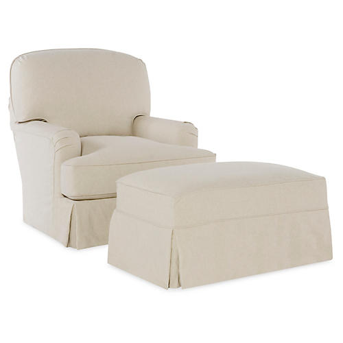 Caroline Chair & Ottoman, Ecru Cotton