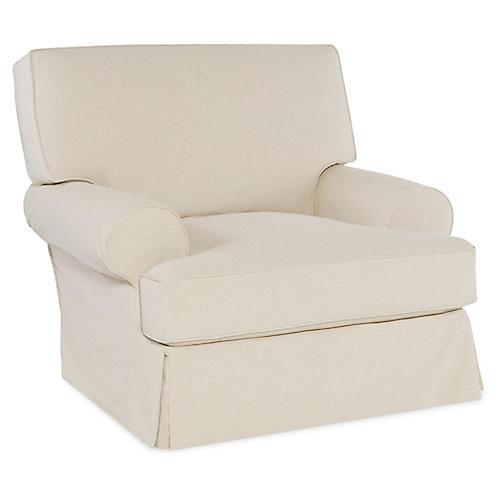 Lauren Swivel Chair, Ecru Cotton