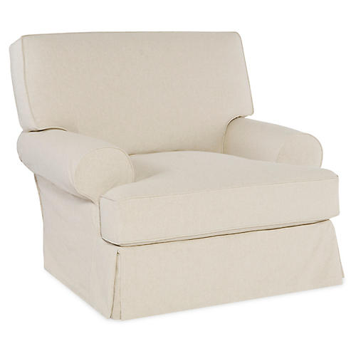 Lauren Swivel Chair, Ecru Cotton