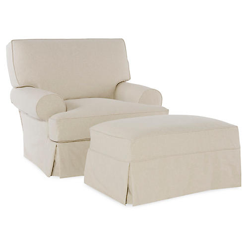 Lauren Chair & Ottoman, Ecru Cotton