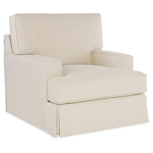 Nelson Club Chair, Ecru Cotton