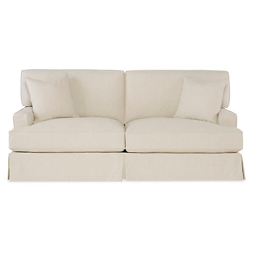 "Nelson 84"" Sleeper Sofa, Ecru Cotton"