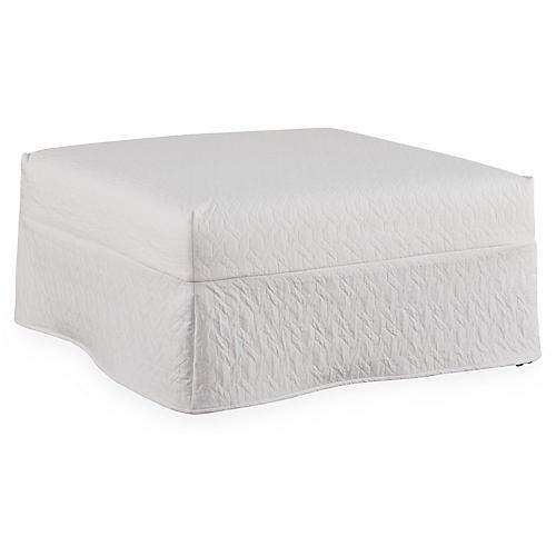Keaton Slipcovered Ottoman, White