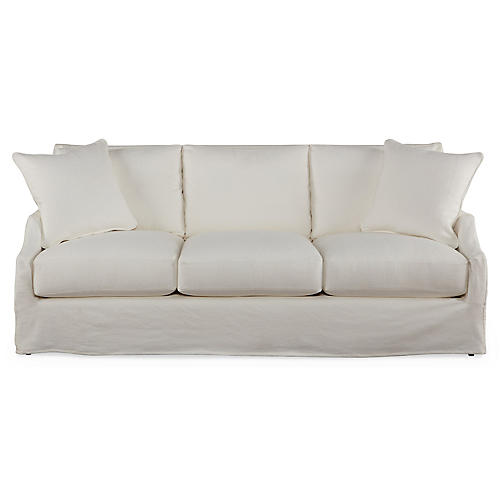 "Reagan 83"" Slipcovered Sofa, White"
