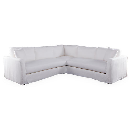 Reese Slipcovered Sectional, White
