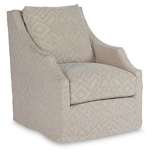 Reagan Slipcovered Swivel Chair, Stone