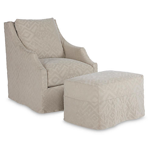 Reagan Swivel Chair & Ottoman, Stone