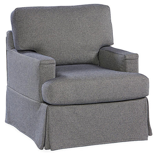 Options Swivel Club Chair, Indigo