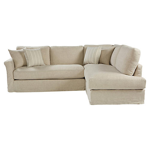 Reese Right-Facing Sectional, Natural Linen