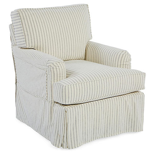Ashley Swivel Club Chair, White/Blue