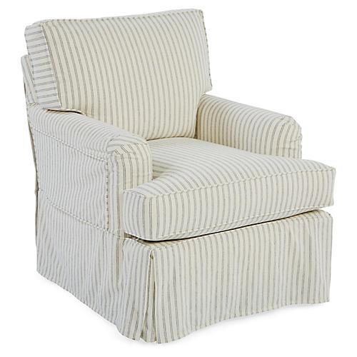 Ashley Swivel Club Chair, White/Blue