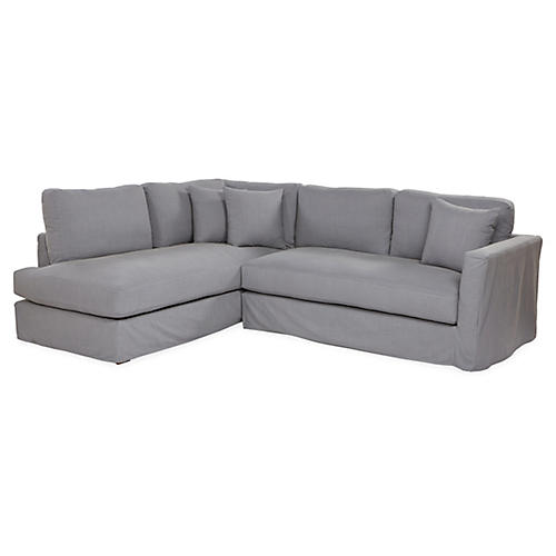 Reese Slipcover Sectional, Charcoal