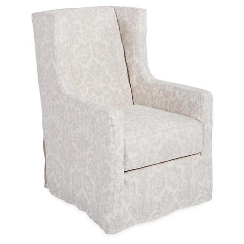 Nicole Swivel Chair, Dove Linen