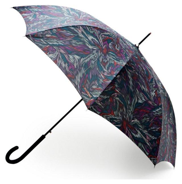 "35"" Wood Stick Umbrella, Navy/Multi"