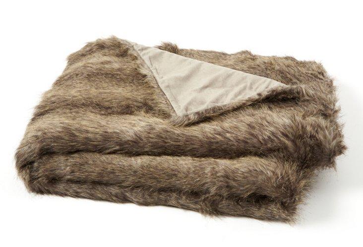 Faux-Fur Throw, Sable